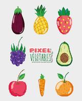Conjunto de comida natural pixelizada
