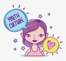 Youth culture millenial woman cartoon