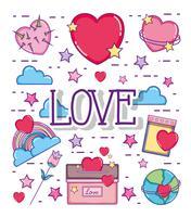 Love and hearts cartoons vector