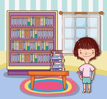 Girl with books cartoons vector