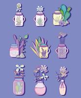 Set di barattolo di vetro con disegni di fiori