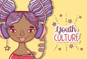 Desenhos animados millenial da mulher da cultura de juventude