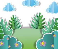 Dibujos animados paisaje de papel