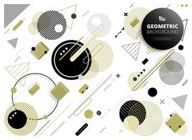 Abstract geometric party of golden black grey colors pattern background.