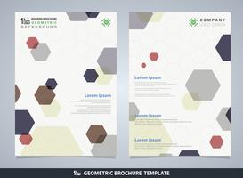 Plantilla geométrica del diseño del folleto del modelo del pentágono colorido abstracto.