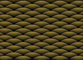 Modelo ondulado de oro de lujo abstracto del diseño en el fondo negro del art déco. ilustración vectorial eps10