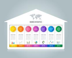 concetto di business design infografica con 7 opzioni.