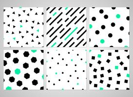 Abstract black geometric pattern set with random green color.