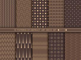 Abstract modern antique of art deco pattern design set.