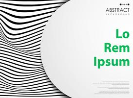 Abatract black and white wavy pattern stripe lines with white space.