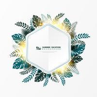 Abstract vector sjabloon zomer bladeren met gouden glitter decoratie brochure cover ontwerp op witte achtergrond. illustratie vector eps10