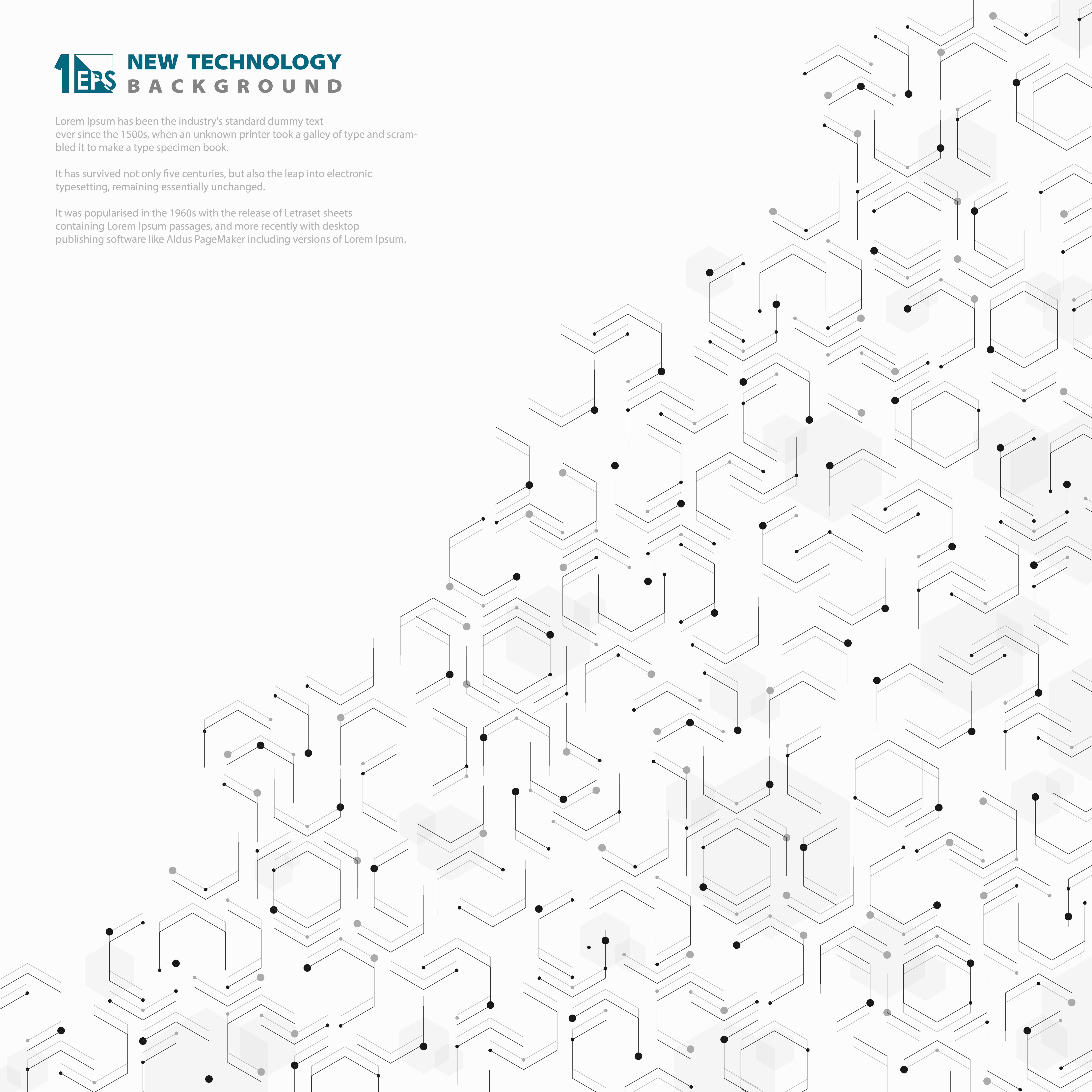 Abstract Hexagonal Geometric Technology Pattern Design White