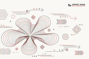Abstract lines geometric vector elements design black and red color decoration. illustration vector eps10