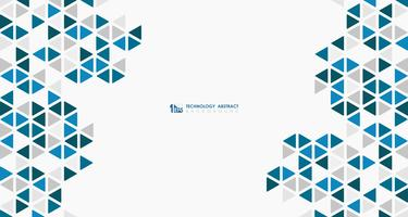 Abstract wide blue cube of geometric hexagonal low pattern design technology. illustration vector eps10