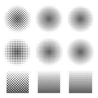 Abstract halftone set of circles and square.  vector