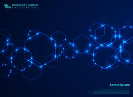 Abstract futuristic hexagon shape pattern connection in gradient blue technology background.