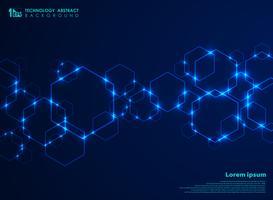 Collegamento futuristico astratto del modello di forma di esagono nel fondo blu di tecnologia di pendenza.