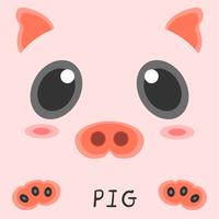 Abstract drawing animal pig picture 2d design.  vector
