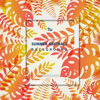 Abstract summer frame leaves nature living coral and yellow colors background. illustration vector eps10