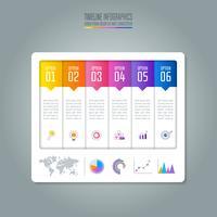 Concetto di business infografica Timeline con 6 opzioni.