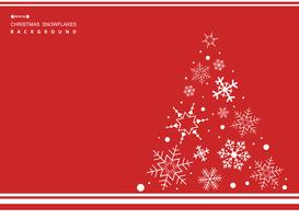 Abstract of Christmas simple red color background with white snowflakes tree.