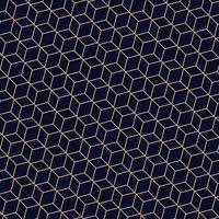 Resumo do padrão geométrico poligonal de linhas douradas. Um vetor sem emenda em fundo azul escuro.