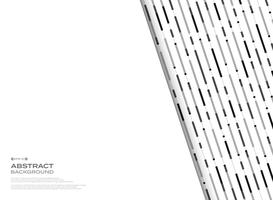 Abstract black and white geometric stripe lines pattern behind white free space background.