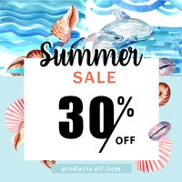 Summer social media advertising  holiday on sale discount. vacation time, creative watercolor vector illustration design