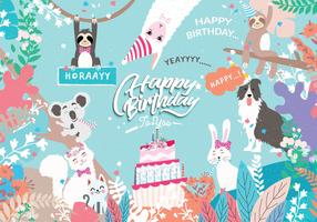 Happy Birthday Animals Illustration Vector