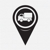 Map Pointer Car Truck Icon vector