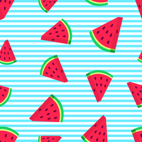 Watermelon Slices Vector Seamless Pattern