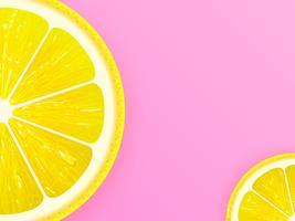 Tranche de citron sur fond de vecteur rose