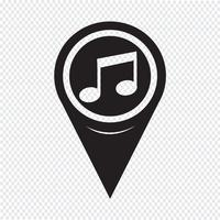 Map Pointer Music Note Icon