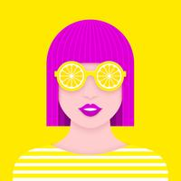 Pop mujer retrato con gafas de sol de limón arte arte diseño vector