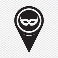 Mapa puntero icono de máscara de carnaval