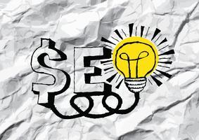 SEO Idea SEO Search Engine Optimization auf zerknittertes Papier