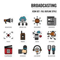 Broadcasting filled outline icon