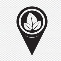 Map Pointer Leaf Icon vector