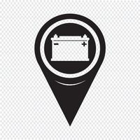 Map Pointer Car Battery Icon