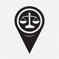Map Pointer Scales Of Justice Icon