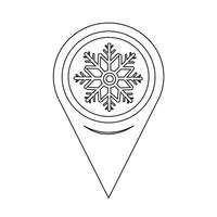 Map Pointer Snowflake Icon