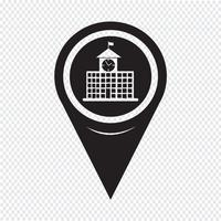 Map Pointer School Building Icon