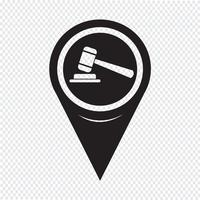 Map Pointer Gavel Icon