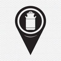 Kaart aanwijzer melk kan pictogram