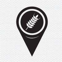 Map Pointer Wheat Ear Icon