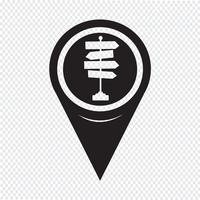 Kaartaanwijzer wegwijzer pictogram