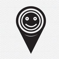 Mapa ponteiro sorriso ícone vetor