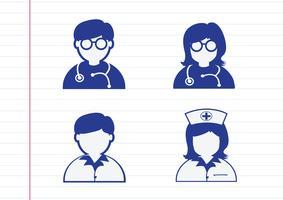 Doktorssjuksköterska Patientens sjukikon tecken symbol piktogram