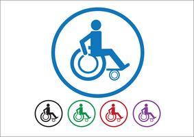 Handicap sedia a rotelle icona design