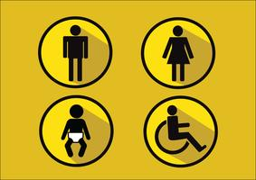 Restroom Symbol Icon of man woman  disability and  child